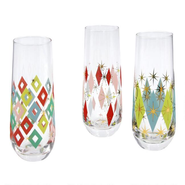 Pop Party Mid Century Stemless Champagne Flutes Set of 3
