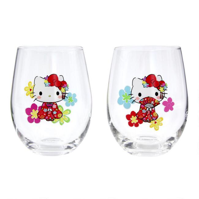 Hello Kitty Tokyo Stemless Wine Glasses 2 Pack