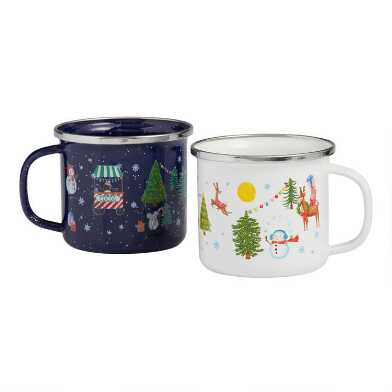 Santa and Friends Enamel Mugs Set of 4