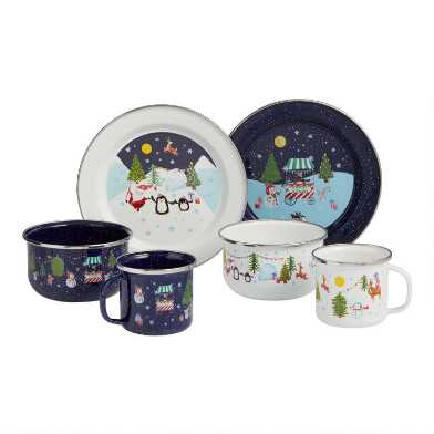 Santa and Friends Enamel Dinnerware Collection