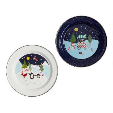 Santa and Friends Enamel Plates Set of 4