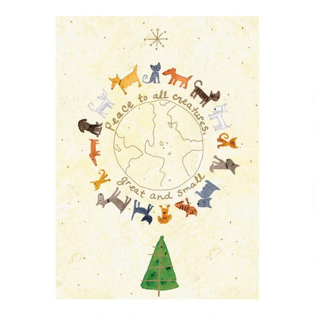Global Animal Boxed Holiday Cards 15 Count