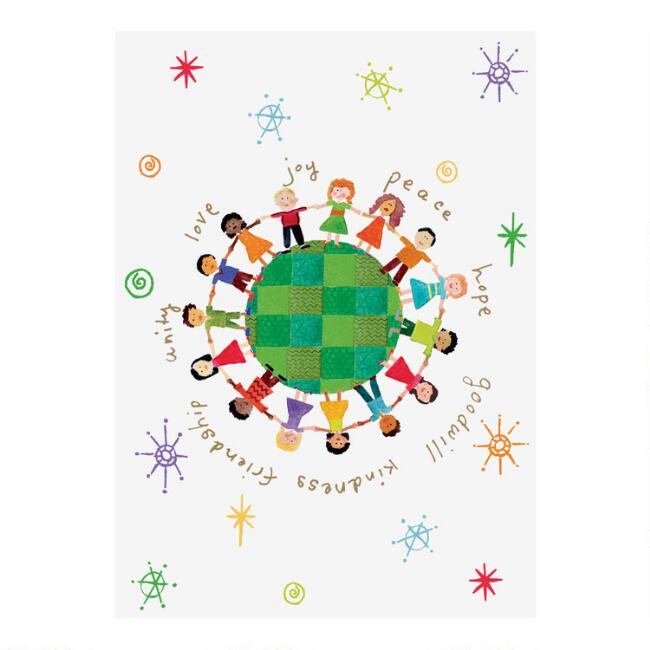 Small Global Kids Boxed Holiday Cards 15 Count
