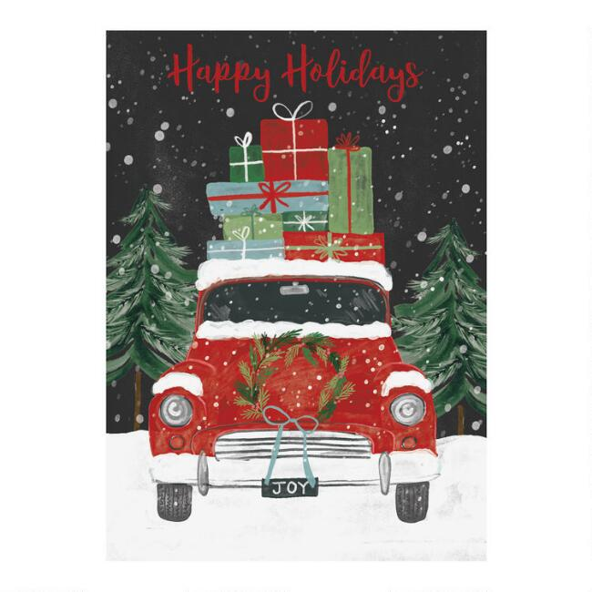 Red Vintage Car Boxed Holiday Cards 15 Count