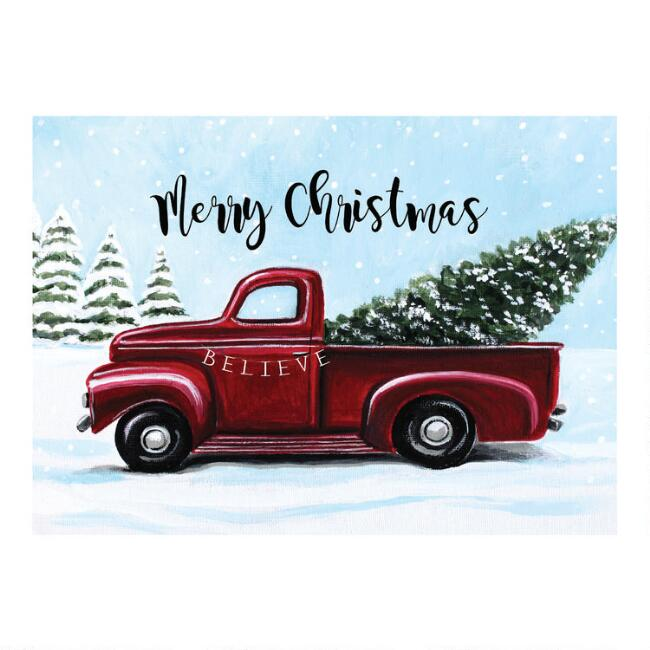 Red Pickup Believe Boxed Holiday Cards 15 Count