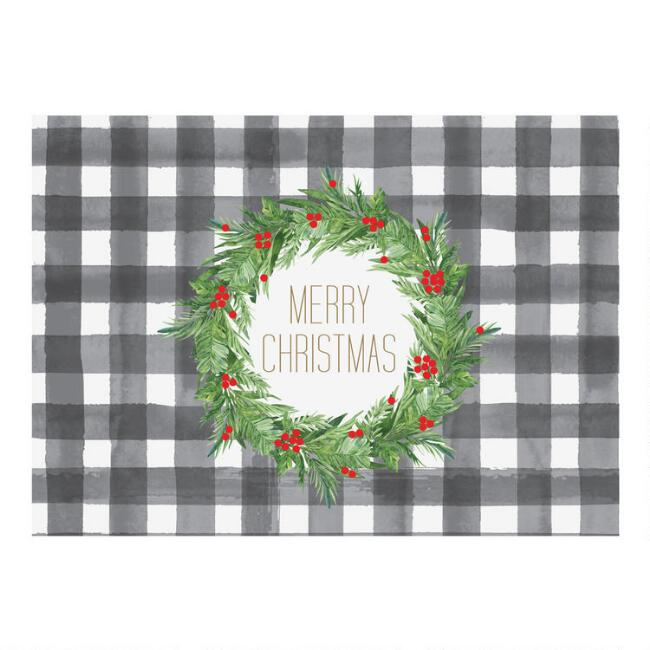 Plaid Merry Christmas Boxed Holiday Cards 15 Count