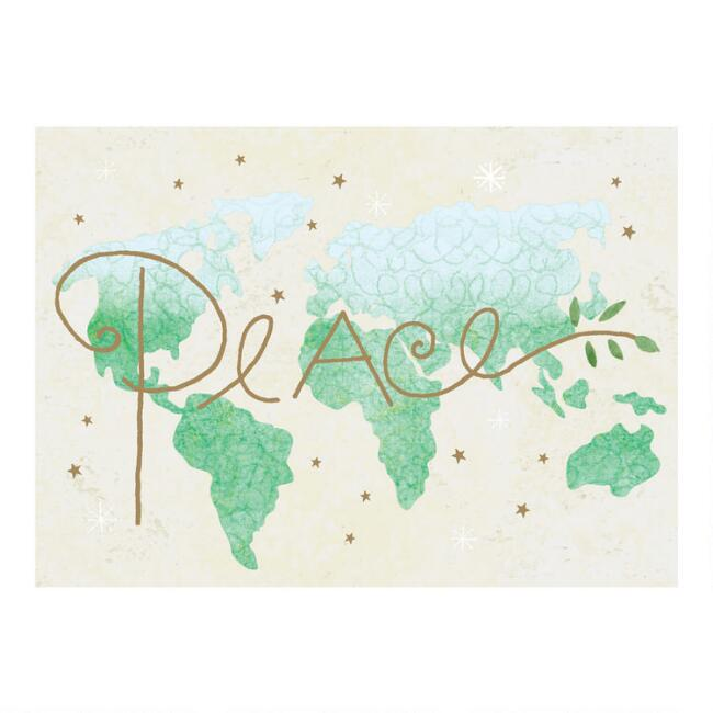 Peace Map Boxed Holiday Cards 15 Count