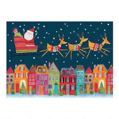 City Santa Sleighing Boxed Holiday Cards 15 Count
