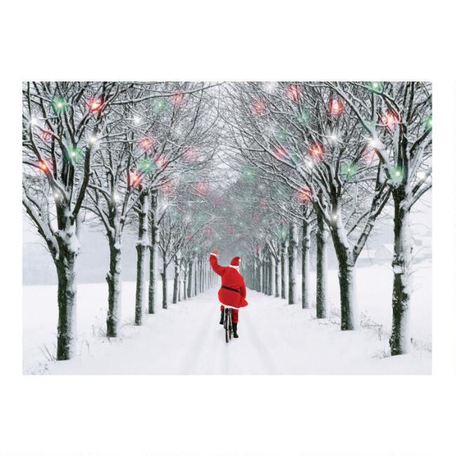 Santa on Bike Boxed Holiday Cards 15 Count