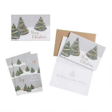 Merry Christmas Trees Boxed Holiday Cards 15 Count