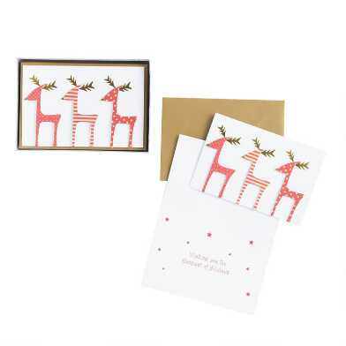 Three Red Reindeer Boxed Holiday Cards 15 Count