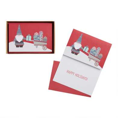 Gnome With Presents Boxed Holiday Cards 15 Count