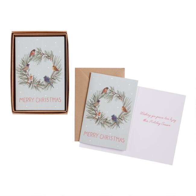 Birds on a Wreath Boxed Holiday Cards 15 Count