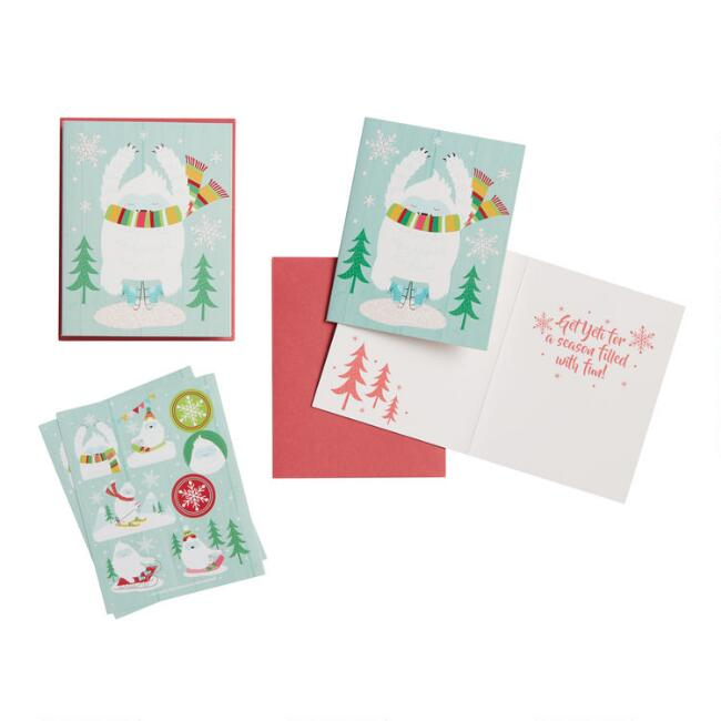 Ice Skating Yeti Boxed Holiday Cards 15 Count