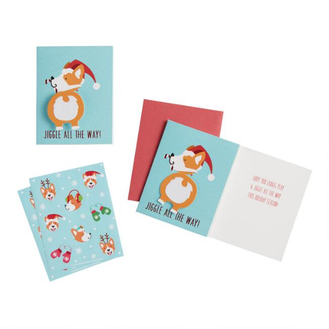 Corgi Jiggle All the Way Boxed Holiday Cards 15 Count