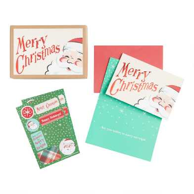 Nostalgic Santa Boxed Holiday Cards 15 Count