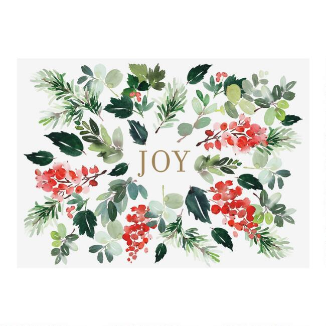 Watercolor Joy Boxed Holiday Cards 15 Count