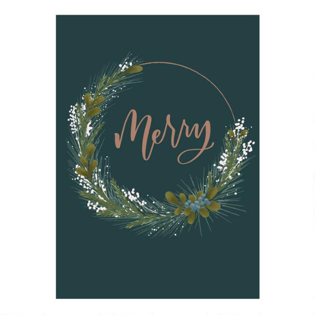 Dark Green Merry Wreath Boxed Holiday Cards 15 Count