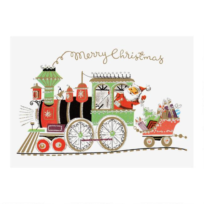 Vintage Santa Train Boxed Holiday Cards 15 Count