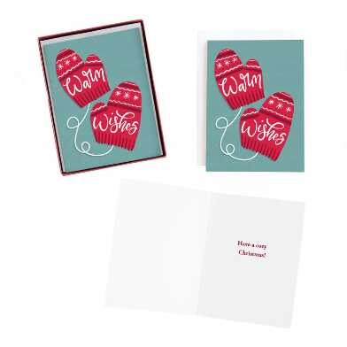 Warm Wishes Mittens Boxed Holiday Cards 15 Count