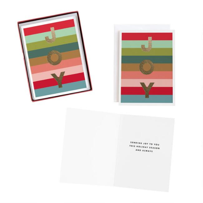 Striped Joy Boxed Holiday Cards 15 Count