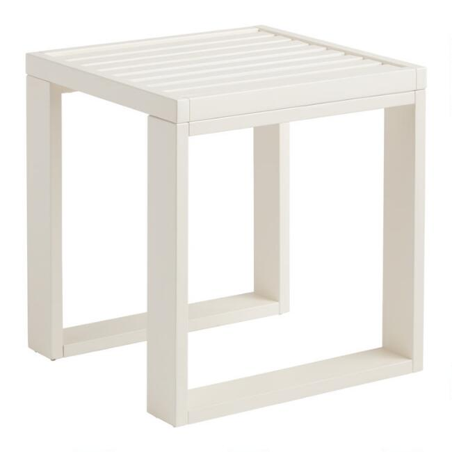 White Wood Kapari Outdoor Accent Table