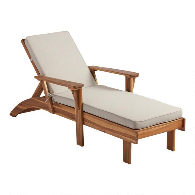 Natural Wood Kapari Outdoor Chaise Lounge with Cushion