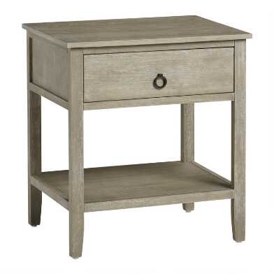 Graywash Wood Grange Nightstand With Drawer