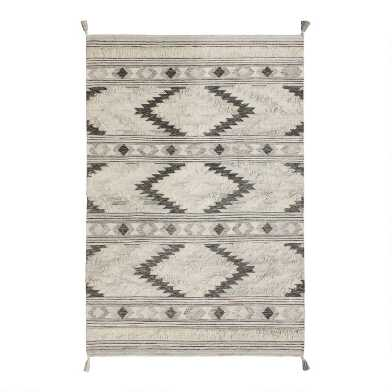 Gray Geometric Wool Kilim Austin Area Rug