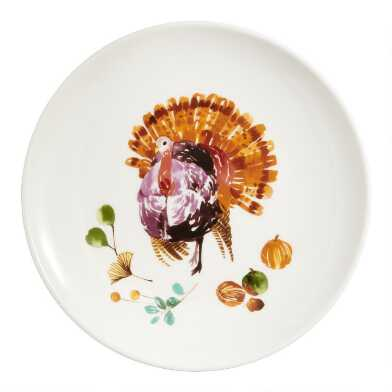 Watercolor Harvest Turkey Plates Set of 4
