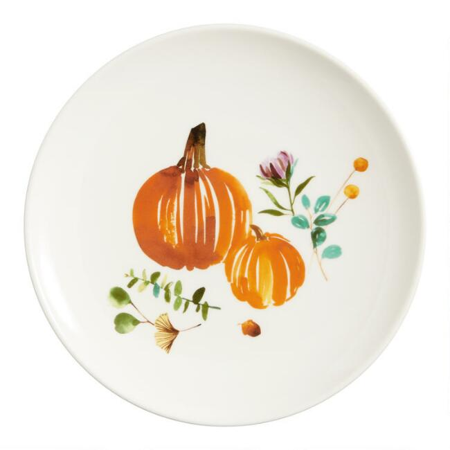 Watercolor Harvest Pumpkin Plates Set of 4