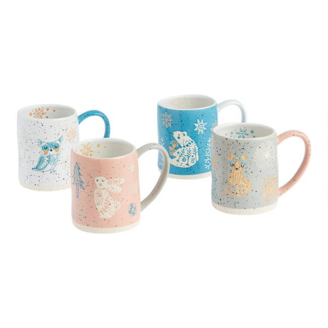 Speckled Nordic Friends Mugs Set of 4