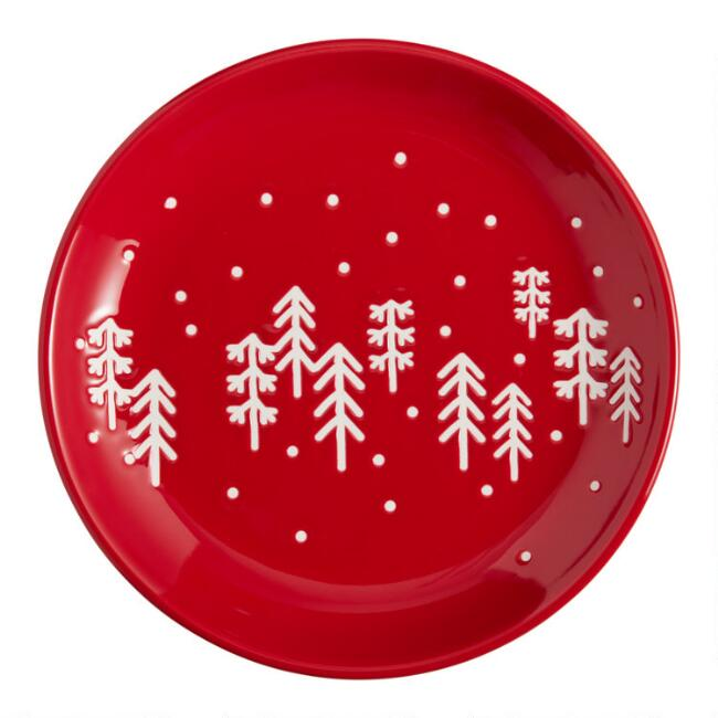 Red Holiday Wax Resist Mud Cloth Plates Set of 4