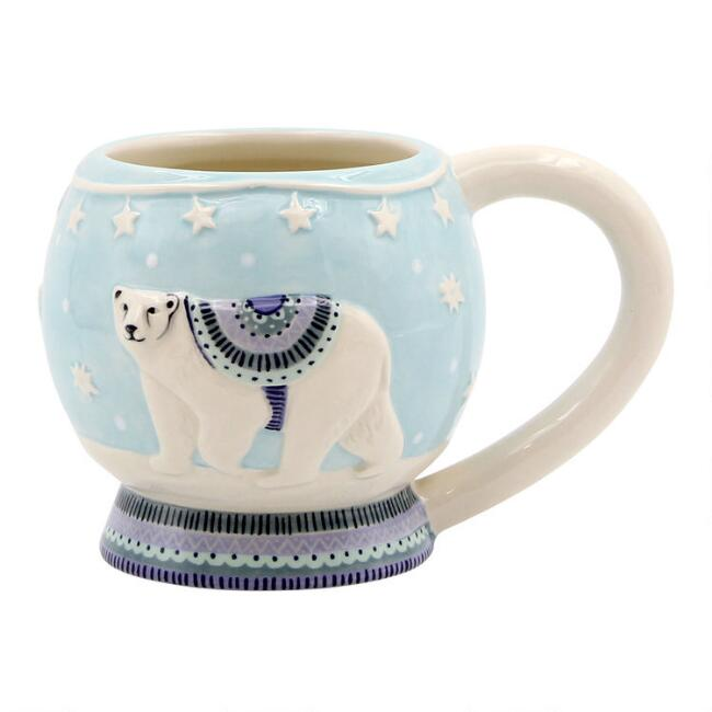 Light Blue Polar Bear Snow Globe Mug