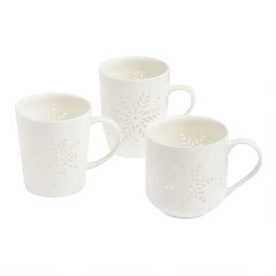 White Stenciled Snowflake Mugs Set of 3