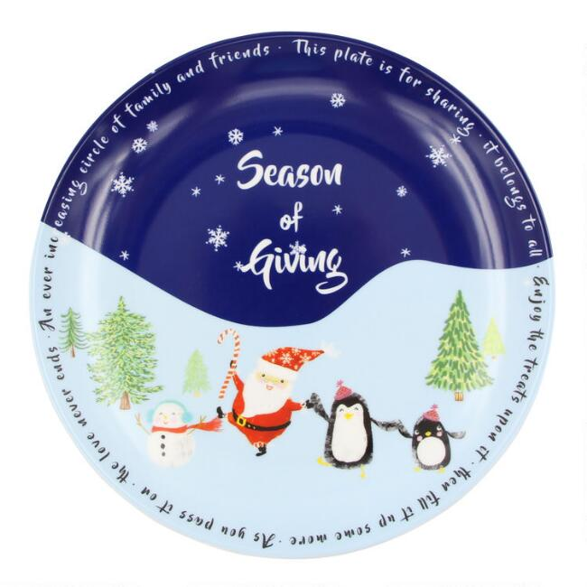 Blue Santa and Friends Treat Plates Set of 4
