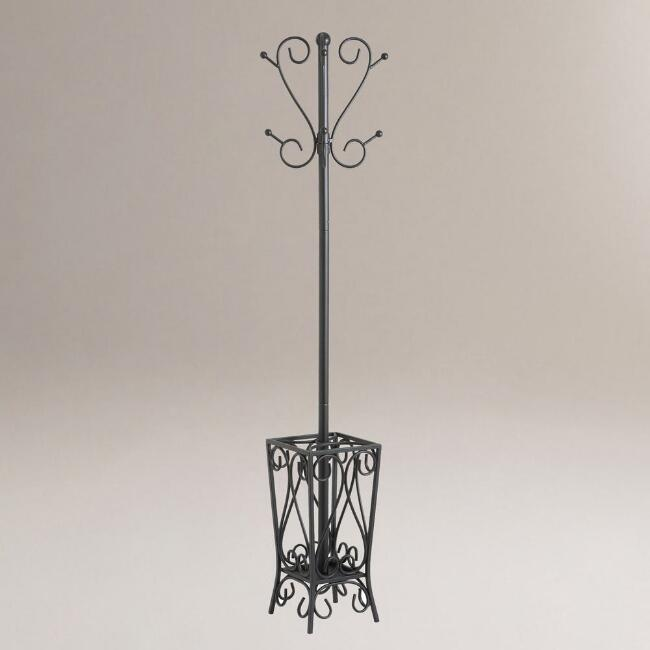 Metal Scroll Coat Rack With Umbrella Stand