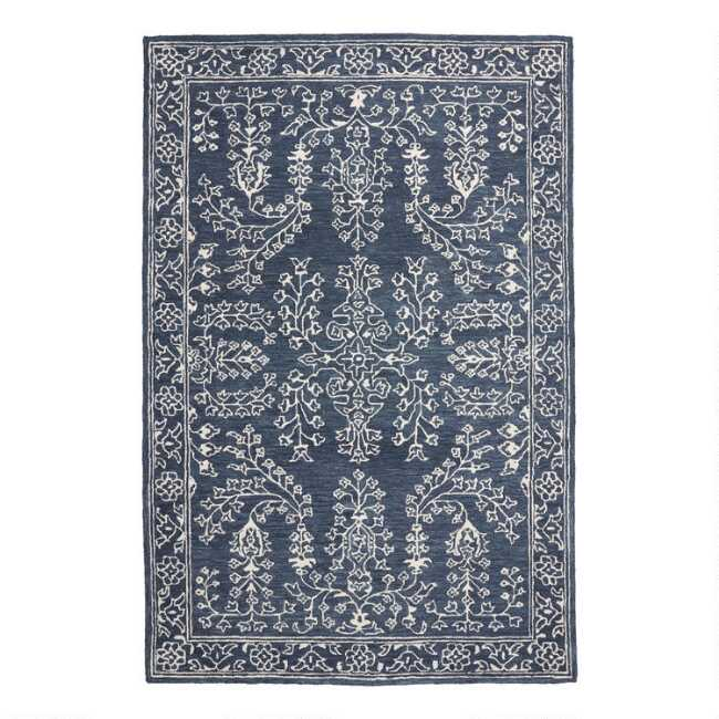 Blue And Ivory Persian Style Tufted Wool Mila Area Rug World Market