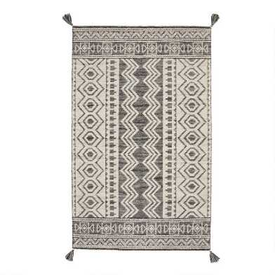 Black Cotton and Ivory Wool Moroccan Style Safi Area Rug