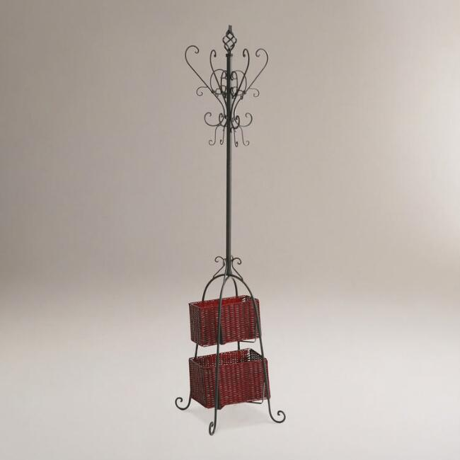 Black Metal Coat Rack with Rattan Storage