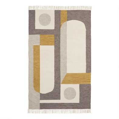 Ivory and Gray Wool Kilim Reversible Soho Area Rug