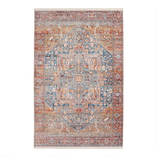Blue and Rust Distressed Persian Style Print Ezra Area Rug