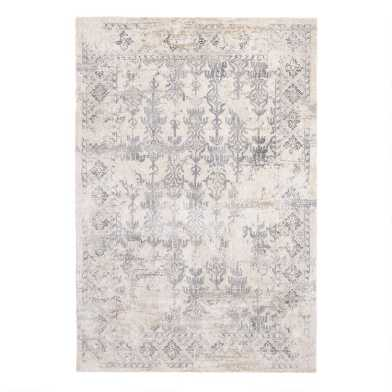 Ivory and Gray Distressed Persian Style Olema Area Rug