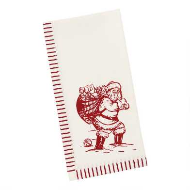 Ivory And Red Old Saint Nick Napkins Set of 4