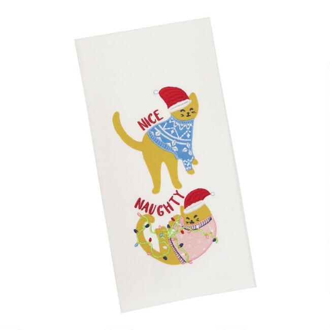 Naughty & Nice Holiday Cats Embroidered Kitchen Towel