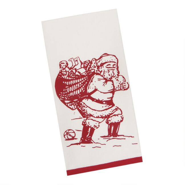Ivory And Red Vintage Old Saint Nick Kitchen Towel