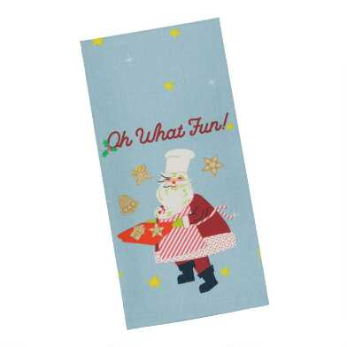 Light Blue And Red Oh What Fun Santa Kitchen Towel