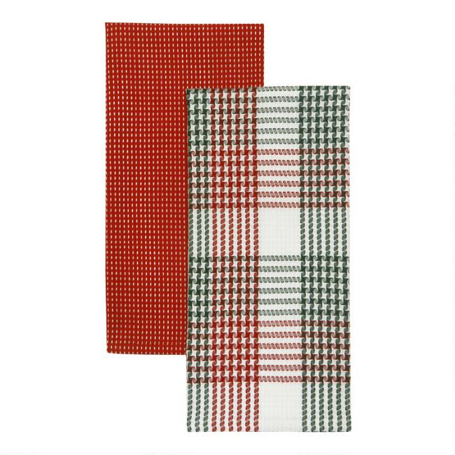 Holiday Houndstooth And Plaid Kitchen Towels 2 Pack