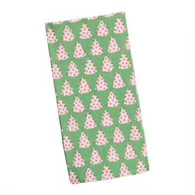 Green, Pink And White Dottie Trees Kitchen Towel