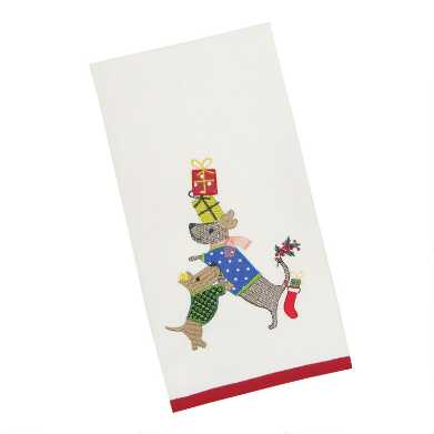Holiday Dogs And Gifts Embroidered Kitchen Towel